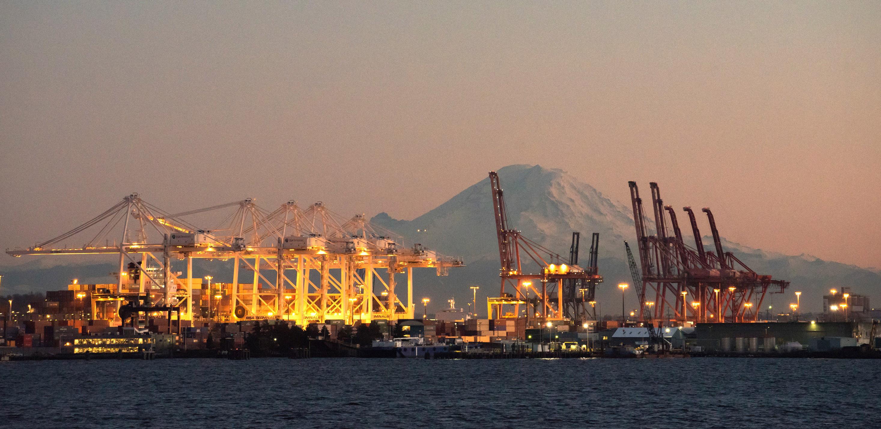 Mount Rainier and container cranes
