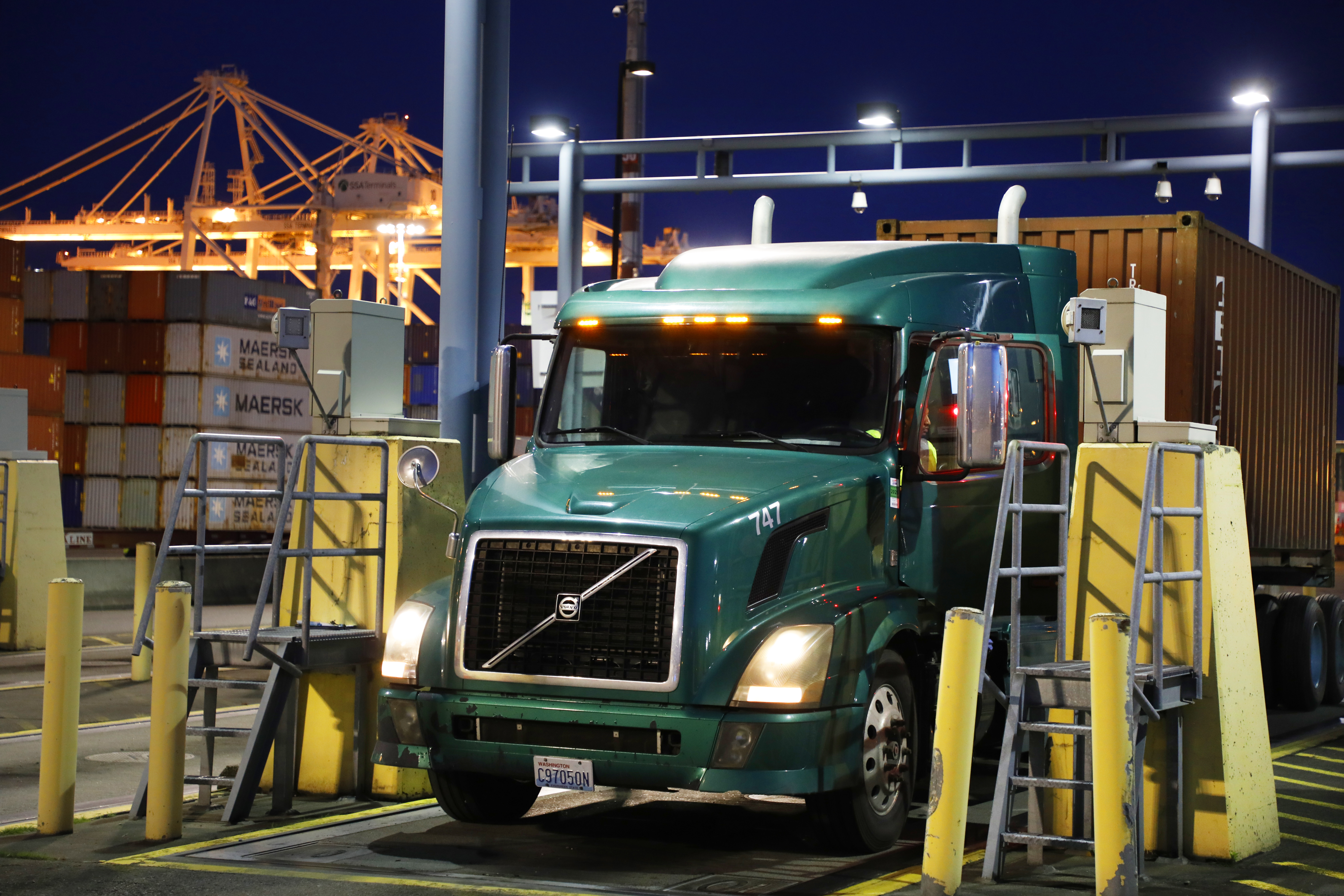 Semi-truck leaving a container terminal