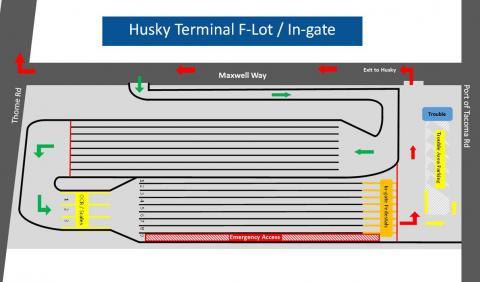 Husky Terminal's Lot F map