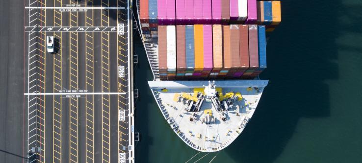 Top down view of a ship at berth
