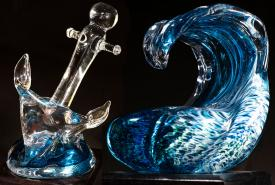 Glass award statues