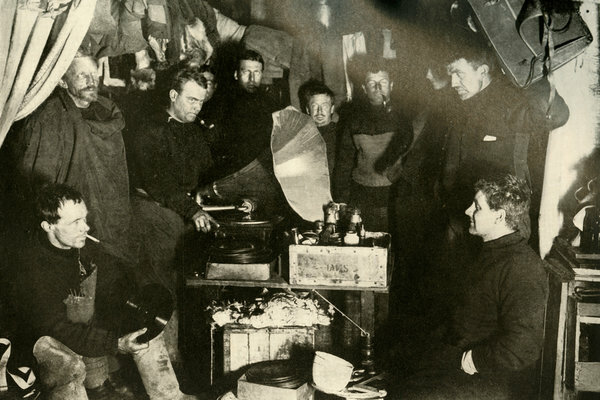 Members of Ernest Shackleton's 1907-09 expedition to Antarctica enjoyed tunes on a gramophone in a hut they built.