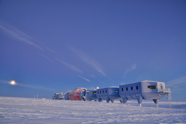 Britain's Halley VI, designed by Broughton Architects, sits on hydraulic stilts and on skis.