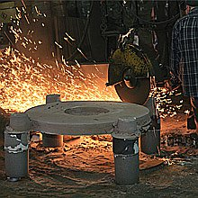 Risers Being Cut-Off of a No-Bake Casting