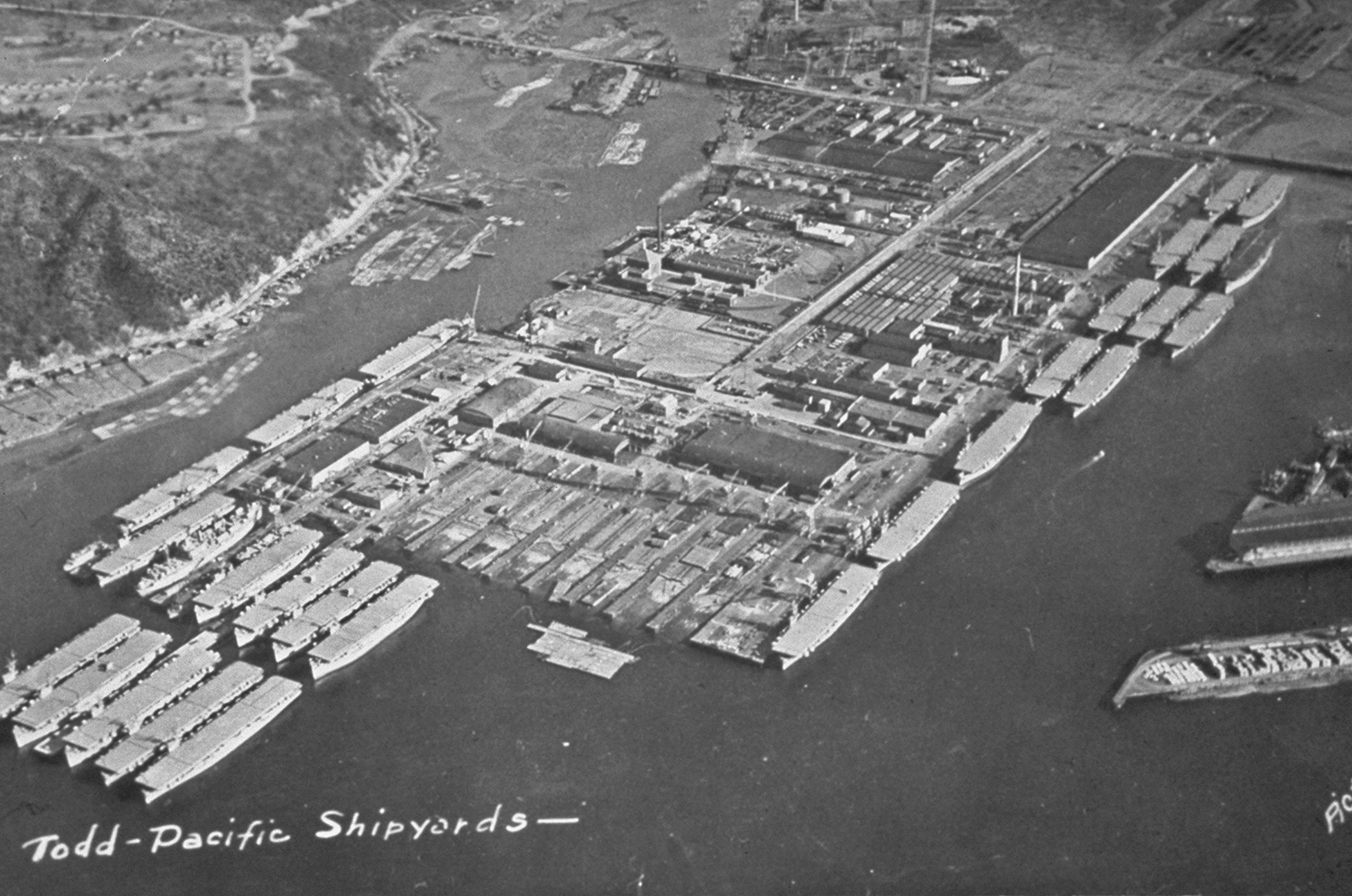 historical aerial photo of todd pacific shipyards