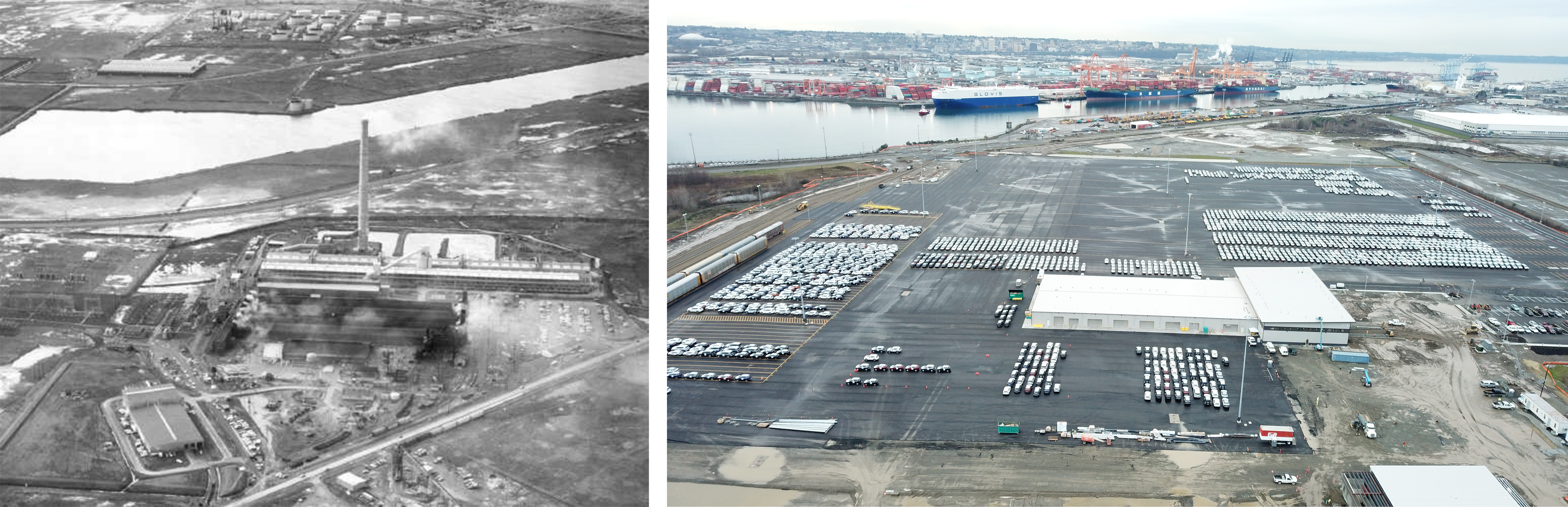Before and after photo of a former Kaiser smelter