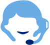 Blue icon of a person with a headset and microphone