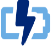 Blue icon of a battery with lightning bolt