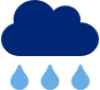 Blue icon of a cloud with three falling rain drops