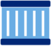 Blue icon of a storage container