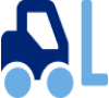 Blue icon of a forklift