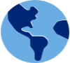 Blue icon of the globe showing the Americas