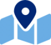 Blue icon of a trifold map with large pin marker