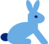 Blue icon of a rabbit