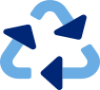 Blue icon of the recycling triangle