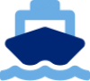 Blue icon of the front of a large cargo ship