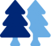 Blue icon of two overlapping pine trees