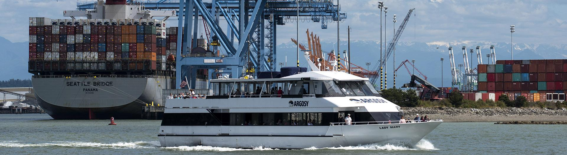 Boat touring the Port of Tacoma