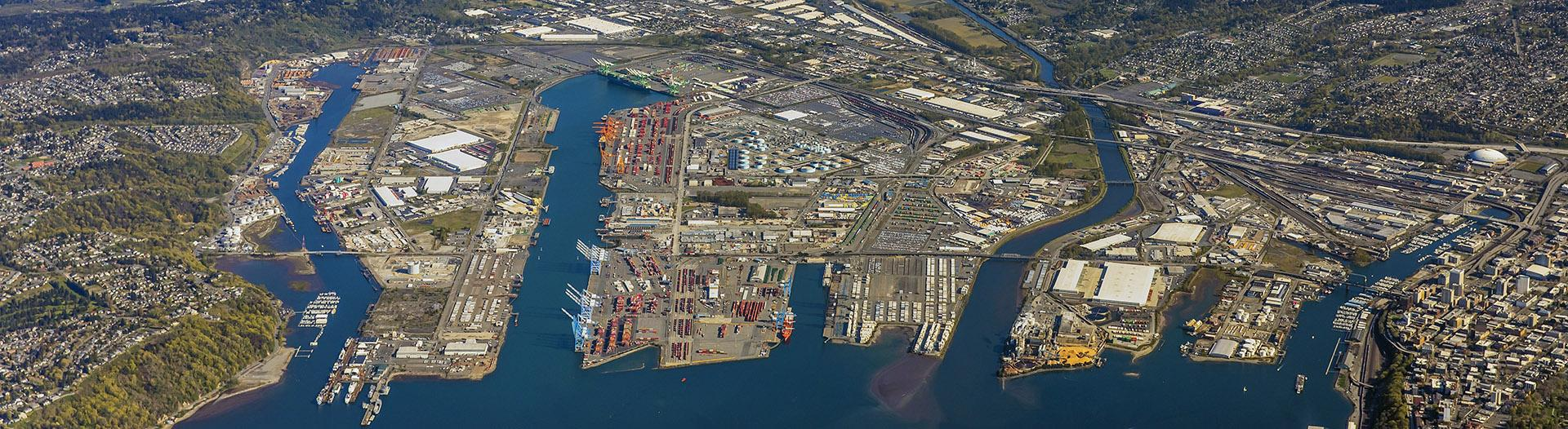 Aerial view of the Port of Tacoma