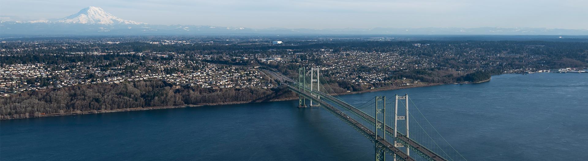 aerial photo of a bridge across water