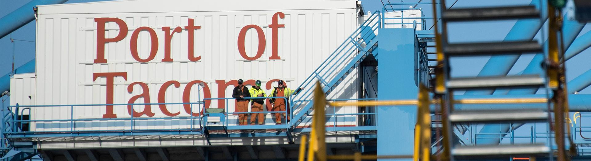 photo of people standing on a container crane