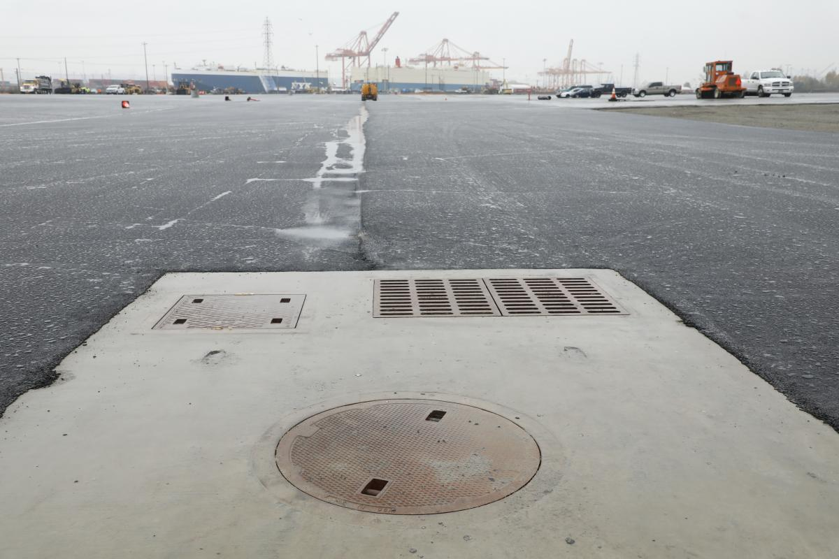photo of catch basin in a parking lot