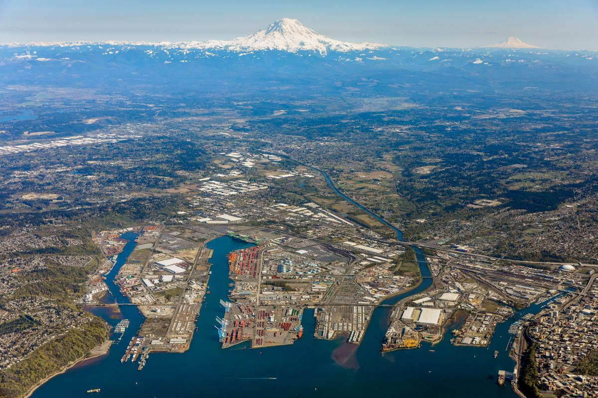aerial photo of the port of tacoma