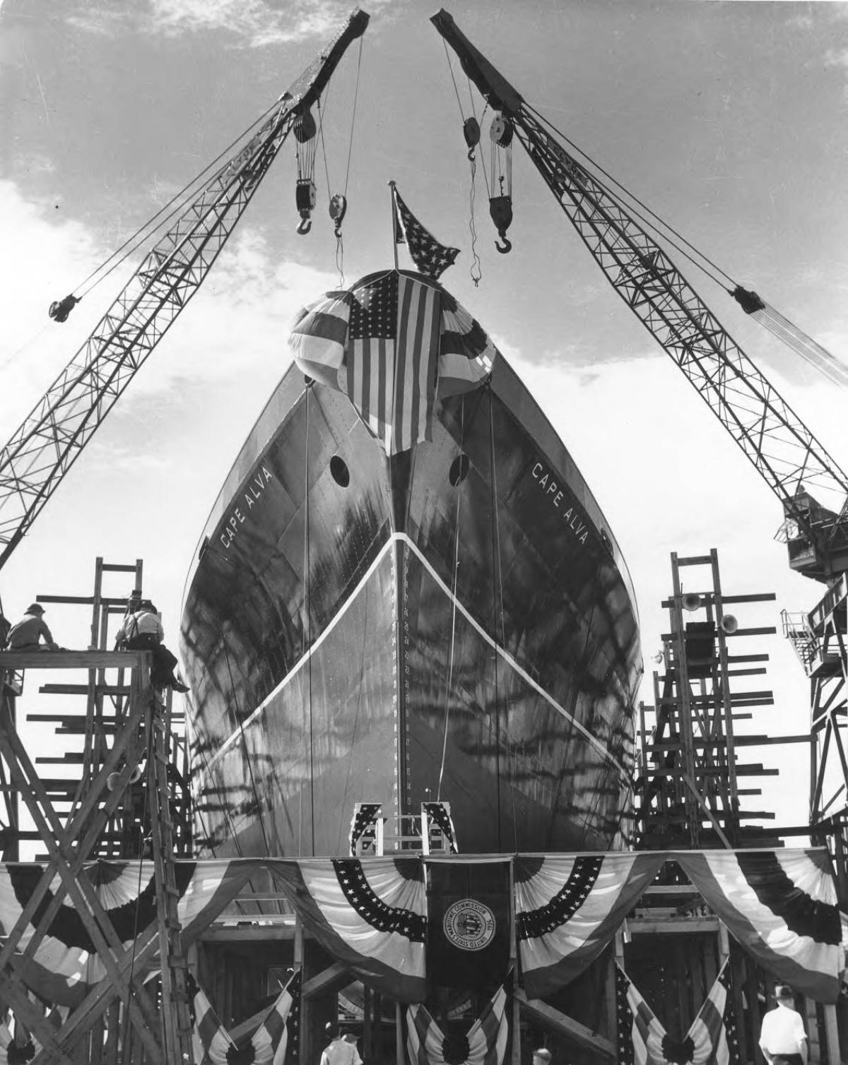 historical photo of vessel being launched