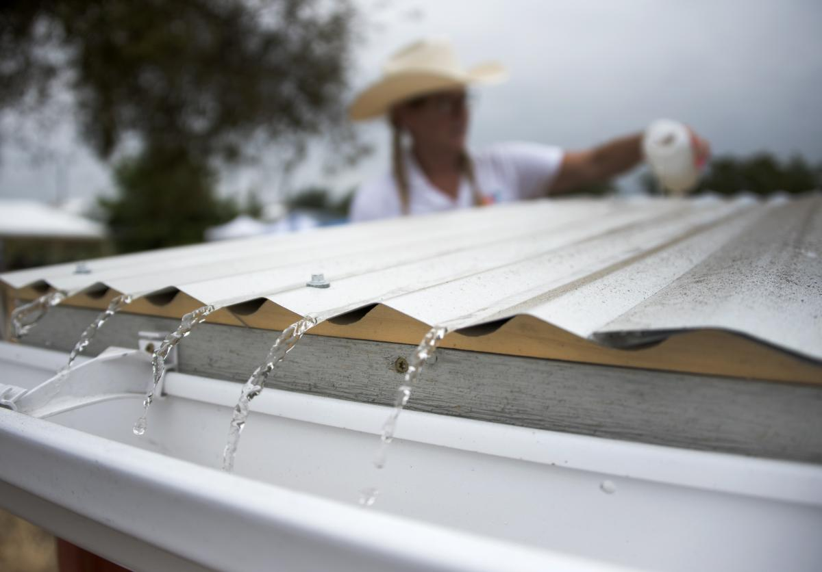 photo of water on a roof