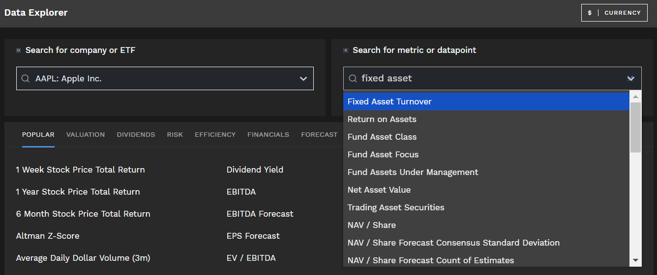 Fixed Asset Turnover ratio Finbox Data Explorer