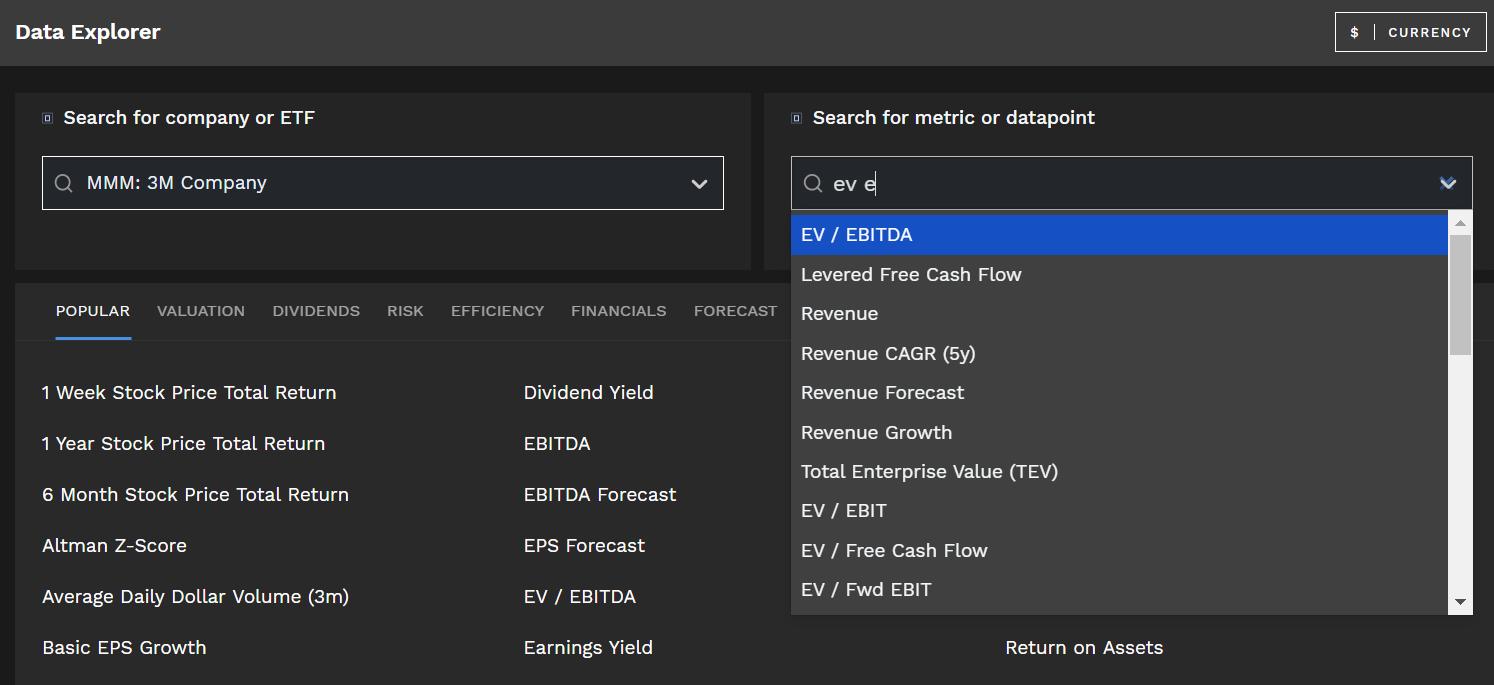EV EBITDA multiple Finbox Data Explorer