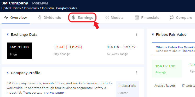 earnings explorer tab