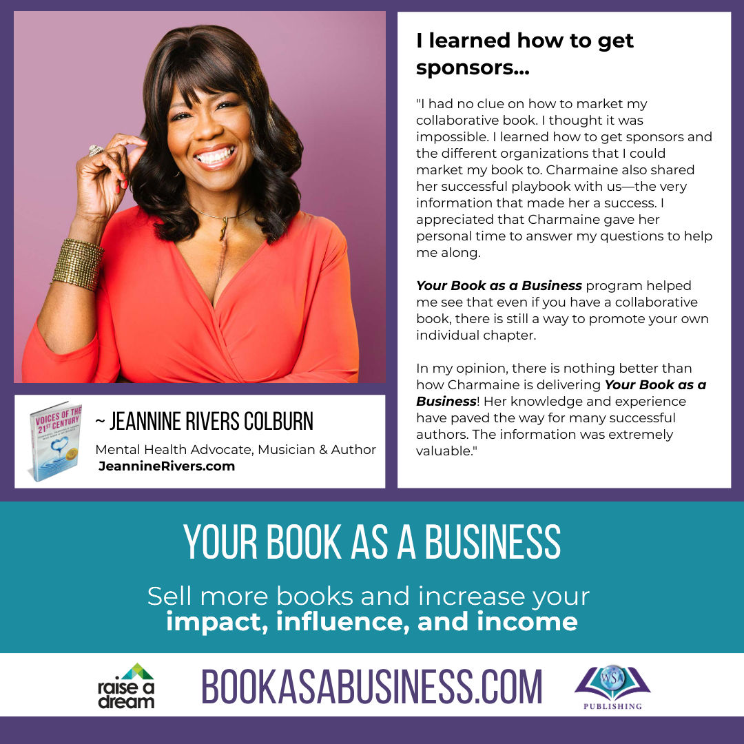 Your Book as a Business - Testimonial - Jeannine Rivers Colburn