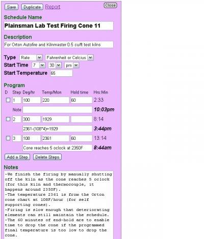 Firing schedules at insight-live.com