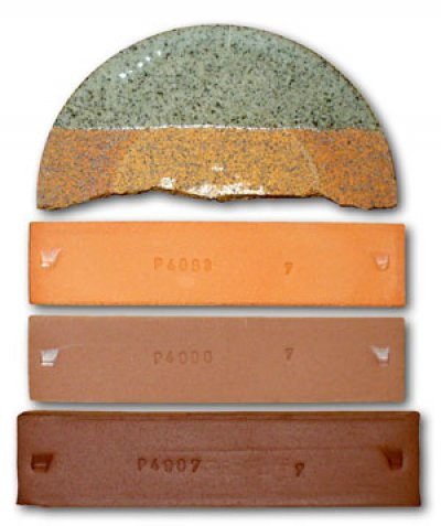 Test bars of different terra cotta clays fired at different temperatures