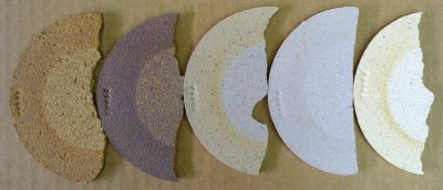 Various cone 10R clays with soluble salts on the surface