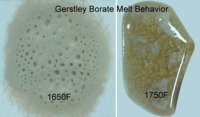 Why does Gerstley Borate melt in two stages? Because it is two minerals.