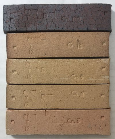 PBX Fireclay test bars fired over a wide temperature range