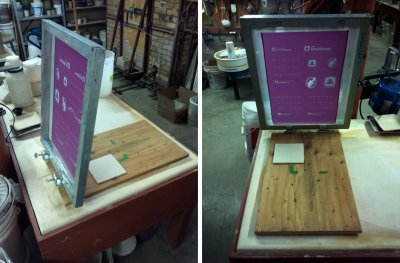 Silk screening using a professionally made screen