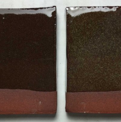 Same glaze, same kiln, same clay: The right one crystallized. Why?