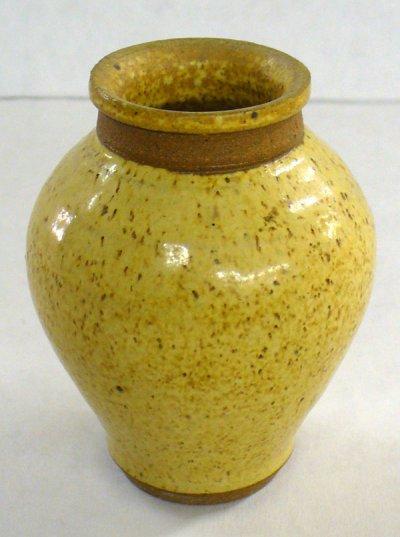 Cone 6 oxidation wood ash glazed vase