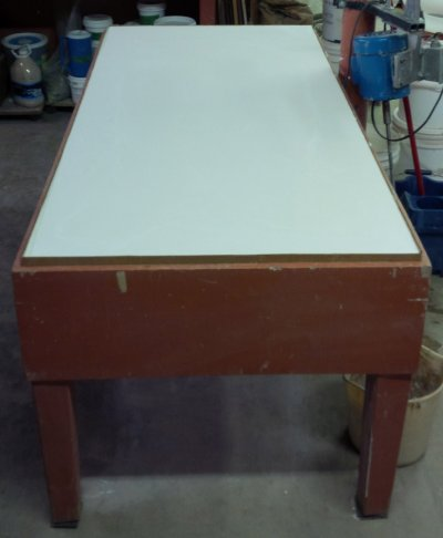 Plaster table poured and read to dry