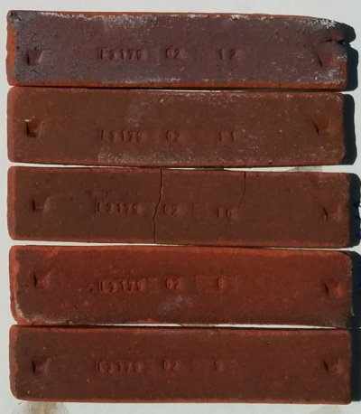 Newman Red clay fired test bars at a range of temperatures