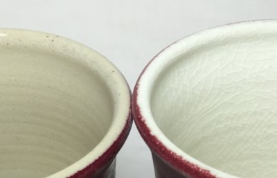 The same liner glaze crazes on the porcelain but not the stoneware