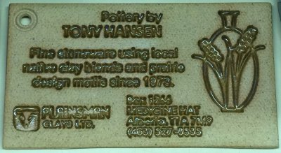 Ceramic business card of Tony Hansen