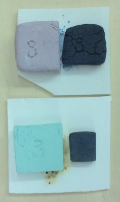 Pure cobalt carbonate and copper carbonate at 1850F