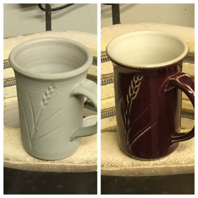 Maroon and white mug before and after firing: What a difference!