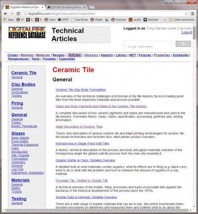 The Digitalfire Reference Database by Tony Hansen