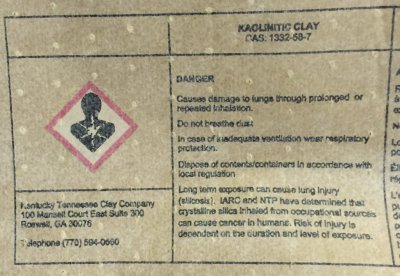 Health warning phrases on a bag of Kaolin