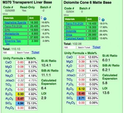 Insight-Live comparing a glossy and matte cone 6 base glaze recipe
